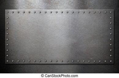 стали, пластина, with, rivets, над, металл, задний план