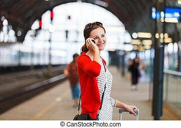 станция, поезд, женщина, молодой, симпатичная
