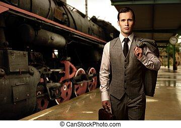 станция, поезд, портфель, человек