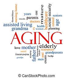 старение, концепция, слово, облако