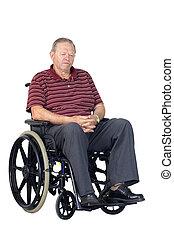 старшая, грустный, инвалидная коляска, человек