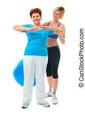 старшая, женщина, дела, фитнес, упражнение