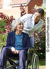 старшая, инвалидная коляска, женщина, pushing, сиделка