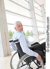 старшая, инвалидная коляска, человек