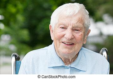 старшая, леди, инвалидная коляска, счастливый