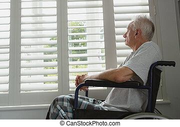 старшая, окно, через, главная, активный, инвалидная коляска, ищу, человек