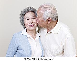 старшая, пара, азиатский