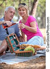 старшая, пара, having, , пикник