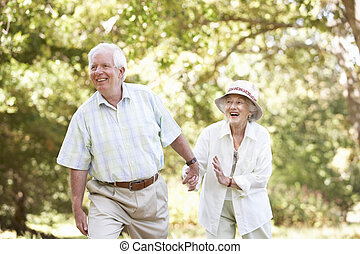 старшая, парк, пара, гулять пешком