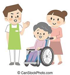 старшая, сотрудники, молодой, женщина, забота, инвалидная коляска