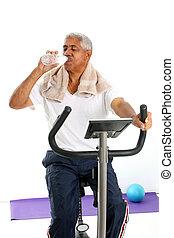старшая, человек, верховая езда, велосипед