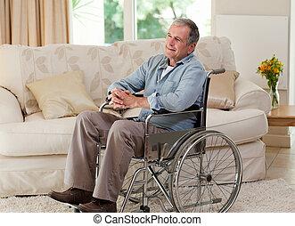 старшая, человек, his, инвалидная коляска