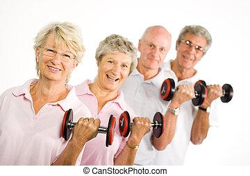 старшая, weights, зрелый, lifting, люди