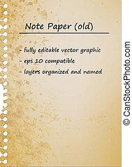 старый, бумага, марочный, заметка, пустой, лист