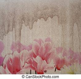 старый, бумага, textures, with, цветы