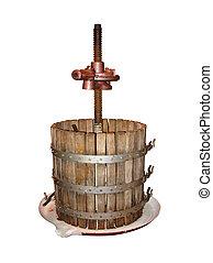 старый, вино, изготовление, нажмите, isolated