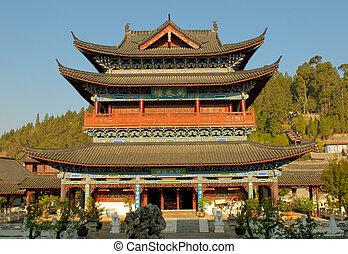 старый, город, резиденция, юньнань, lijiang, му, китай