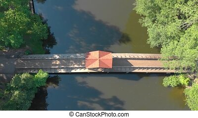старый, деревянный, антенна, мост