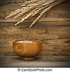 старый, задний план, деревянный, золотой, пшеница