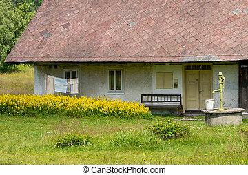 старый, коттедж, with, рука, насос, в, , countryside.