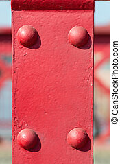 старый, красный, металл, задний план, with, rivets