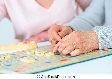 старый, люди, playing, игра