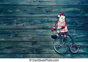 старый, марочный, рождество, decoration., санта, на, деревянный, background.