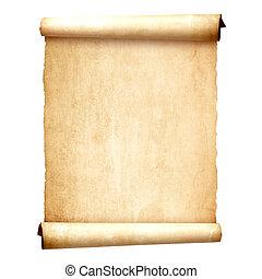 старый, марочный, свиток, isolated, на, белый, задний план