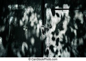 старый, металл, дверь