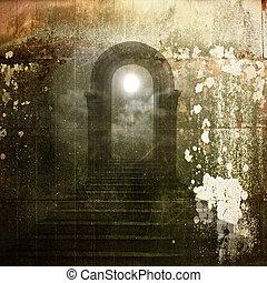 старый, мог бы, дуга, задний план, каменная кладка, traces, ...