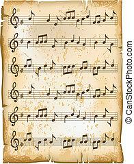 старый, музыка, лист