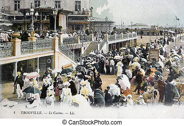 старый, открытка, of, trouville, , казино