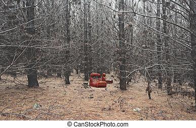 старый, полуразрушенный, стул, в, безрадостный, сосновый лес