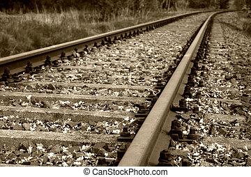 старый, рельс, постель, and, рельс, tracks