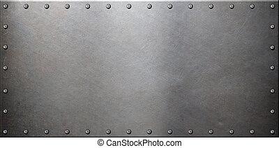 старый, стали, металл, пластина, with, rivets