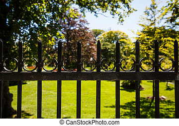 старый, черный, железо, забор, вокруг, сад