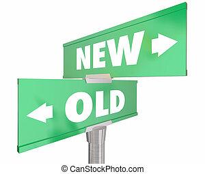 старый, vs, два, иллюстрация, улица, путь, знаки, 2, новый, дорога, 3d