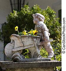 статуя, в, , сад