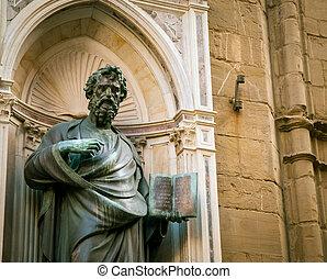 статуя, держа, , библия
