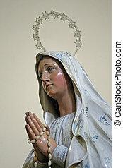 статуя, руки, clasped, мэри, молитва, девственница