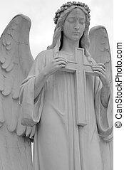 статуя, of, ангел, держа, , пересекать