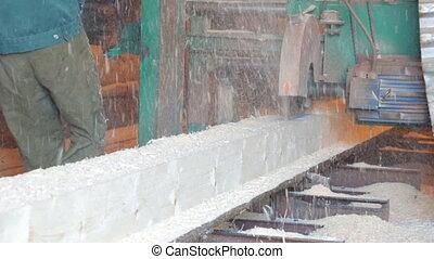 стебель, дерево, saw-mill, sawing
