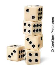 стек, of, азартные игры, игральная кость