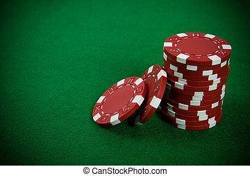 стек, of, красный, покер, чипсы