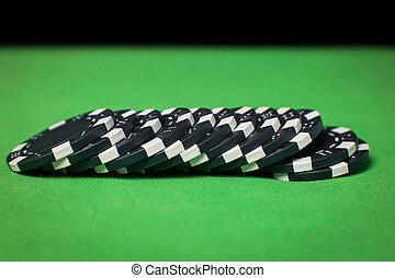 стек, of, покер, чипсы, на, , зеленый, таблица