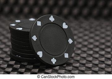 , стек, of, черный, покер, чипсы