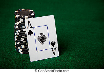 стек, of, черный, покер, чипсы, and, туз