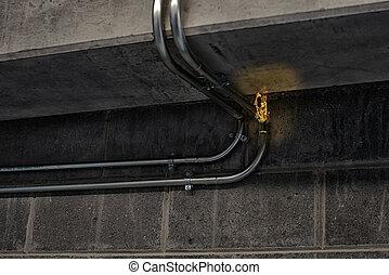 стена, камень, провод, электрический, сжигание