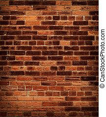 стена, кирпич, старый, красный