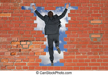 стена, jumped, человек, через, кирпич, has